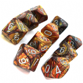 Gold & Silver Lustrous D10 Ten Sided Dice Set